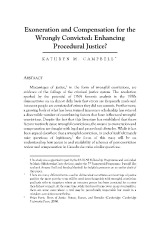 Exoneration and Compensation for the Wrongly Convicted: Enhancing Procedural Justice?